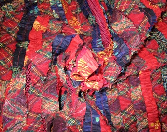 """80s 49"""" x 2 yds Novelty Polished Cotton & Muslin Strips on Mesh Red Blue Plaid"""