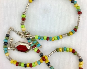 Fine Silver (.999) & Glass Bead Necklace With Hill Tribe Silver