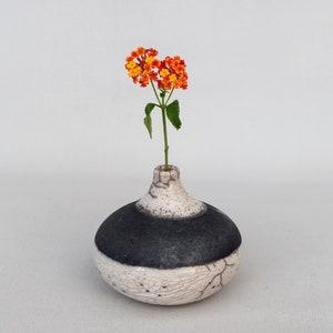 One of a kind Raku fired White Crackled Black smoked Minimal Home Decor. Single Flower Vase Handmade Ceramic Stoneware Wheel Thrown