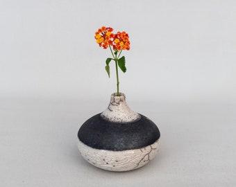 Handmade Ceramic, Raku Vase, White Crackled, Black Smoked, Elegant Art Gift, Single Flower Vase, Minimal Home Decoration, One of a kind.
