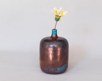 Handmade Ceramic, Flower Vase, Raku Fired, Bronze Black, Turquoise Blue, Smoked Crackled, Single Flower, Stoneware Vessel, One of a kind.