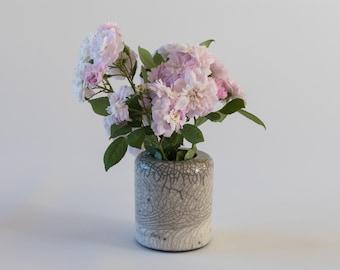 Small Flower Vase, Handmade Ceramic, Raku Fired, White Crackled, Black smoked, Stoneware Flower Vessel, One of a kind, Elegant Art Gift.