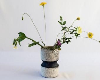 Flower Vase, Handmade Ceramic, Raku Fired, White Crackled, Black Smoked, Stoneware Pot, Fine Art Home Decor, Elegant Art Gift, One of a kind