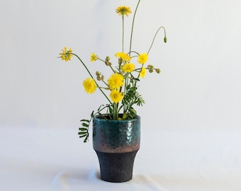 Flower Vase, Handmade Ceramic, Raku Fired, Turquoise Bronze, Black Smoked, Ceramic Pot, Fine Art Home Decor, Elegant Art Gift, One of a kind