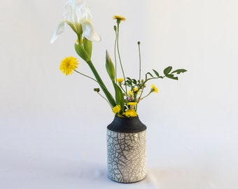 Flower Vase, Handmade Ceramic, Raku Fired, White Crackled, Black Smoked, Stoneware Vessel, Fine Art Home Decor, Elegant Gift, One of a kind