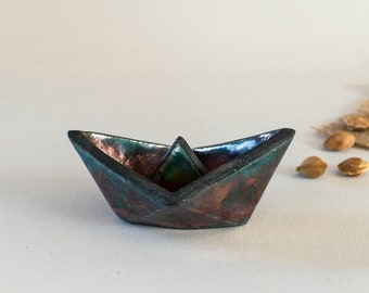 Ceramic Handmade, Raku Fired, Paper Boat, Blue Green, Bronze Black, One of a kind, Fine Art Home Decor, Elegant Art Gift, Imaginary Sailings