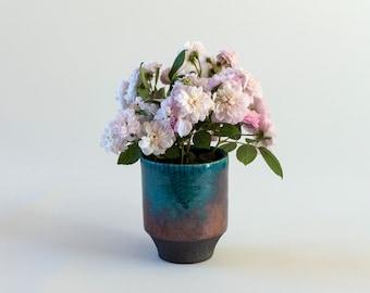 Ceramic Pot, Flower Vase, Handmade Ceramic, Raku Fired, Turquoise Bronze, Black Smoked, Fine Art Home Decor, Elegant Art Gift, One of a kind