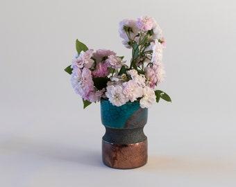 Flower Vase, Ceramic Pot, Handmade Ceramic, Raku Fired, Turquoise Bronze, Black Smoked, Fine Art Home Decor, Elegant Art Gift, One of a kind