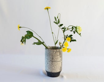 Handmade Ceramic, Flower Vase, Raku Fired, White Crackled, Black Smoked, Stoneware Pot, Fine Art Home Decor, Elegant Art Gift, One of a kind