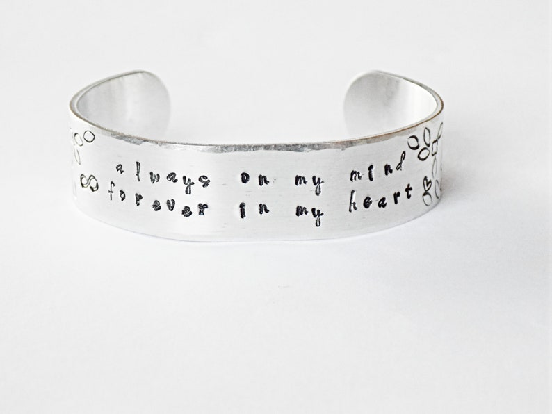 Hand Stamped Bracelet With Quote Always On My Mind Etsy