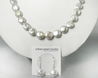 Pearl Necklace With Box Clasp Silver Coin Flat Pearl Set With Coin Pearl Earrings