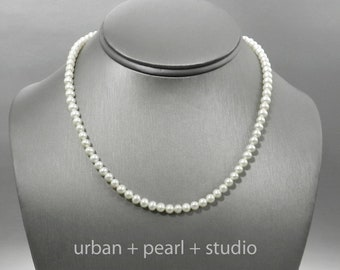 Small Pearl Necklace Tiny Pearl Choker Necklace 14 in or 15 in Real Pearl Necklace Sterling Silver Clasp