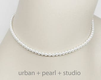 Small Pearl Necklace Tiny Pearl Choker Necklace 14 In or 16 In Little Swarovski Pearl Choker