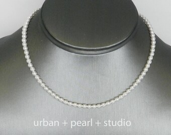 Small Pearl Necklace | Tiny Pearl Choker Necklace Swarovski Pearl Choker Little Pearls Simple Strand of Pearls 14 Inch Choker 15 Inch Choker