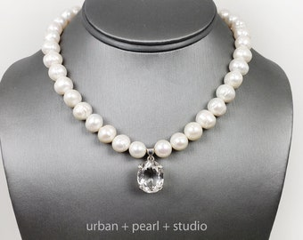 Baroque Pearl Necklace With Quartz Crystal Pendant Pearl Choker