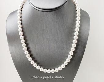 Men's Pearl Necklace 20 Inch Swarovski Pearl Choker Necklace For Guys 24 Inch Harry Pearls