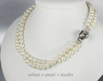 Multi Strand Pearl Necklace Swarovski Crystal Sterling Silver Box Clasp Gift for My Wife Freshwater Pearls Hand Knotted