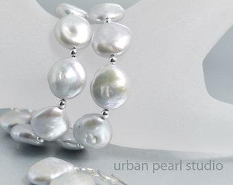 Pearl Bracelet Earrings Set Multi Strand Silver Gray Pearl Earrings Bracelet Jewelry Set Silver Coin Bridal Flat Pearls