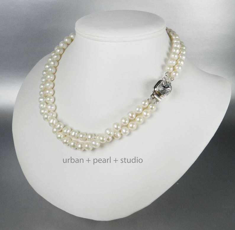 c2628e9aae50c Multi Strand Pearl Necklace | Freshwater Pearls and Swarovski Crystal  Sterling Silver Box Clasp
