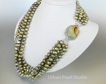 Multi Strand Pearl Necklace Olive Green Pearl Necklace Cultured Pearls Picture Jasper Box Clasp Pearl Drop Earrings