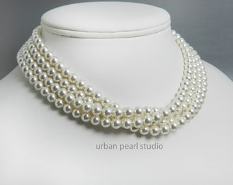 """Pearl Choker Necklace Power Pearls 15"""" Pearl Necklace Swarovski Pearl Multi Strand Adjustable Length"""
