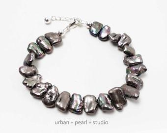 Black Pearl Bracelet Biwa Stick Pearl Adjustable Length Beaded Bracelet in Freshwater Baroque Pearls With Extender Chain