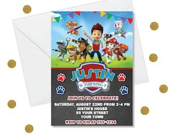 DIY Editable Invitation - Paw Patrol Birthday Invitations, Boy Birthday Party Invites | Chase Invite