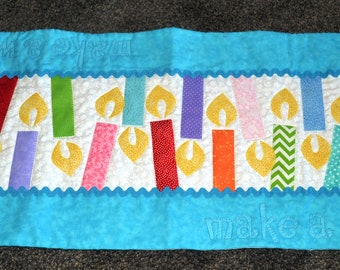 Make A Birthday Wish Table Runner: Turquoise Cake