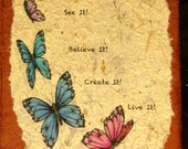 """Custom """"Vision Journal""""! 9""""x12"""" Replaces Vision Boards  Mixed Media-covered with leather, Fern-wood Cloth or handmade Mulberry Paper-"""