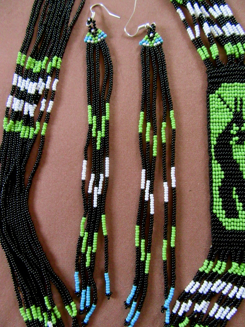 27.5-31.5\u201d Earrings are 7\u201d without wire post Native American inspired Green Kokopelli Peyote Seed Bead Necklace and Earring Set