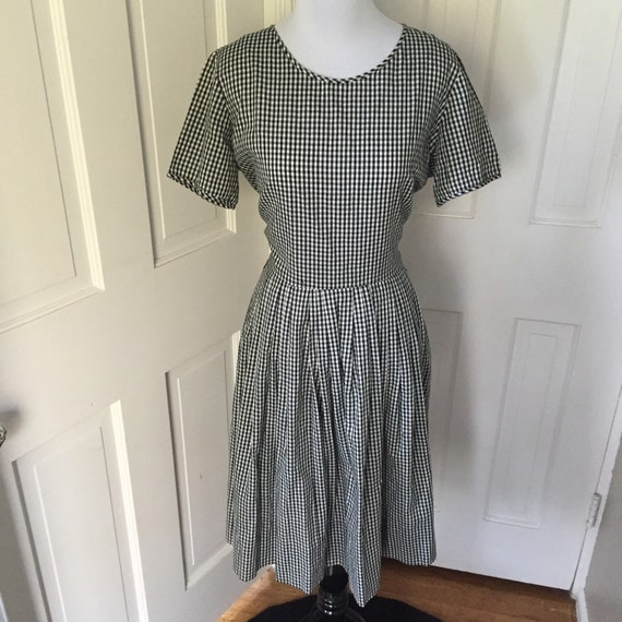 50's black and white gingham party dress