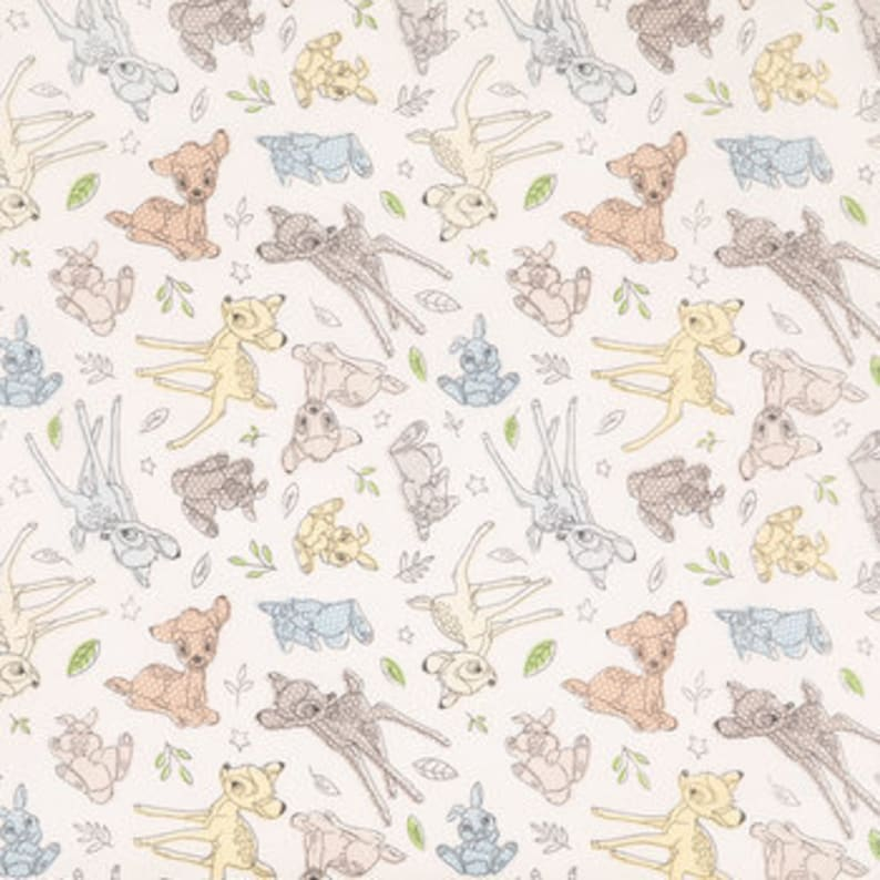 cotton   fitted cribtoddler sheet Best of friends on white Bambi