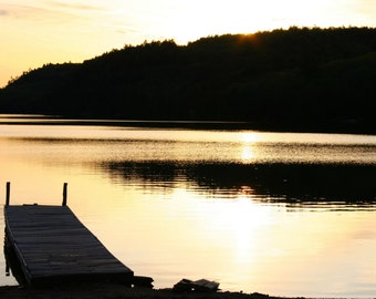 Sunset landscape photography print, sunset lake art print, sunset water art print, Canada landscape