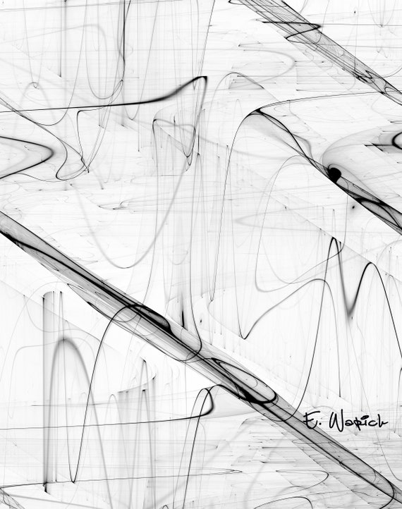 Black And White Scribbling Abstract Line Art Print Modern Wall Art Black And White Home Decor Childlike Art