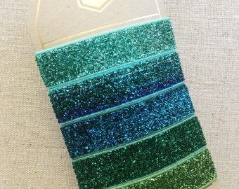 Blue Jade Sparkle - Set of 5 Elastic Hair Ties