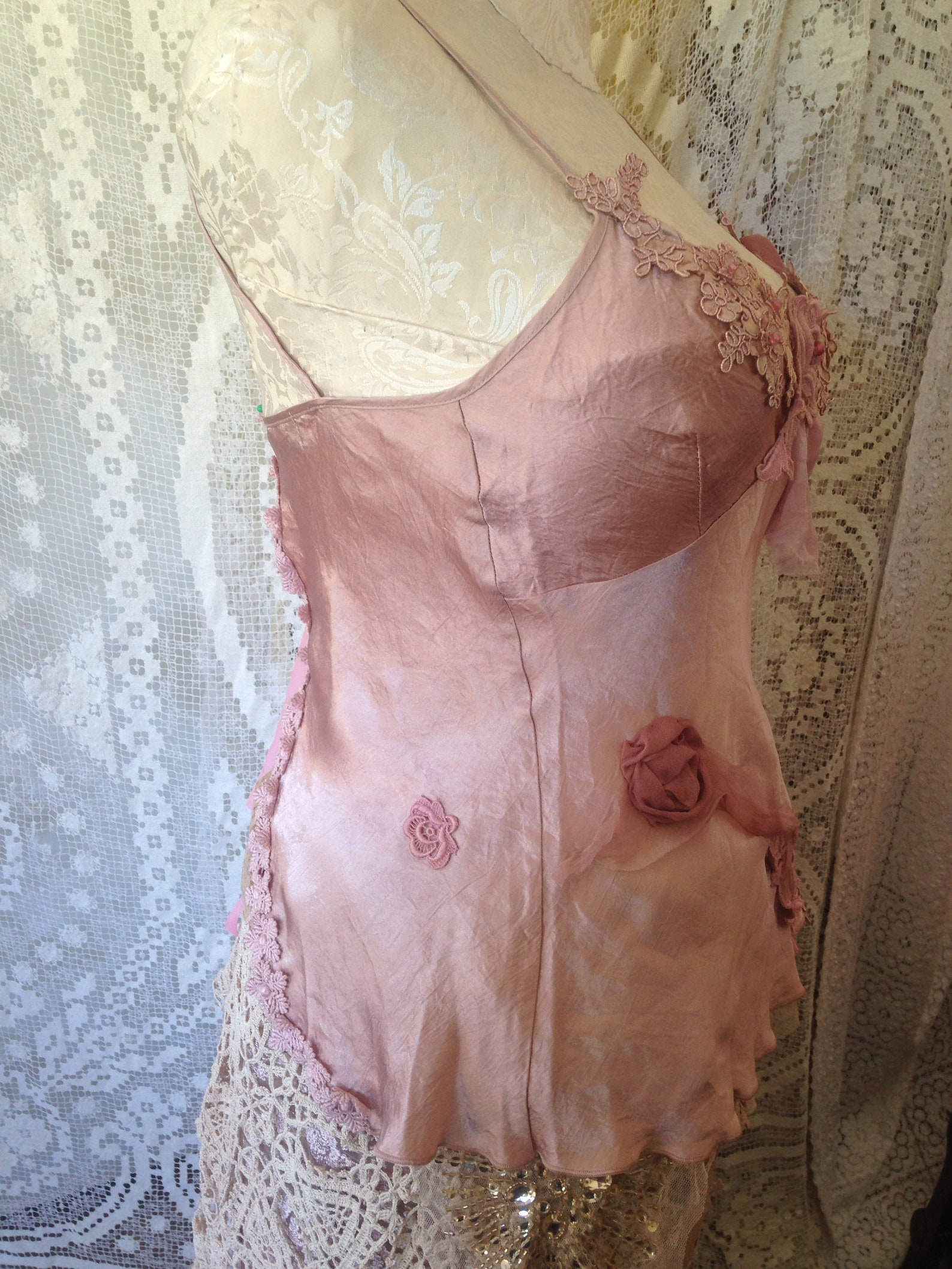 ballet pink tie-back shoestring top.fairy lagenlook shabby romantic delicate with silk flower details and lots of guipure lace t