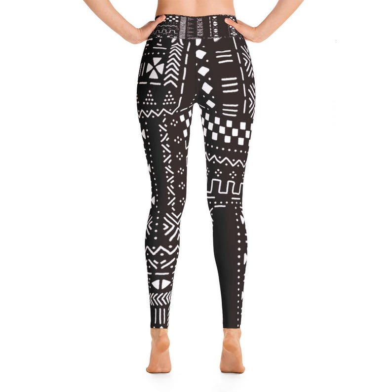 African Print Mudcloth Yoga Leggings  Tights