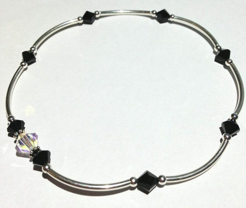 Beaded Ankle Bracelet Stretch Anklet Swarovski Crystal image 0