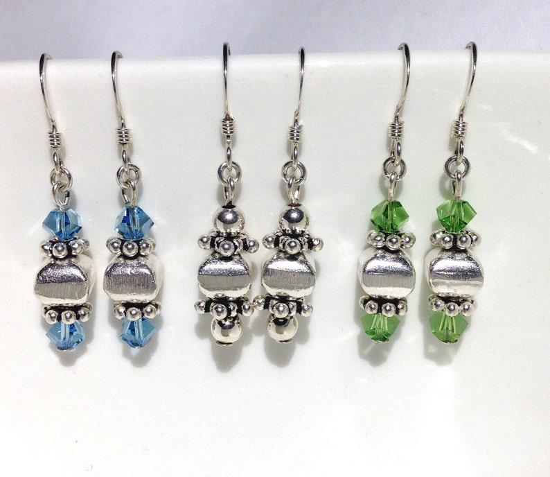 Minimalist Earrings Sterling Silver Earrings Beaded Jewelry image 0