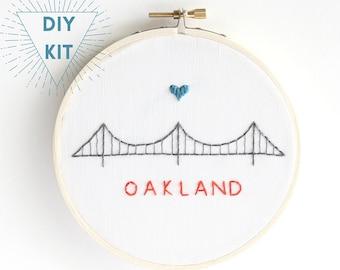 Bay Bridge Oakland | Embroidery Kit Modern | Beginner Embroidery Pattern | Full Kit | DIY Craft Kit