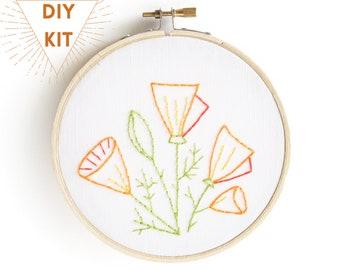 California Poppies | Embroidery Kit Beginner | Modern Embroidery| Full Kit | DIY Craft Kit