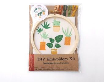 DIY Embroidery Kit - Plants Are Our Friends - Learn how to Embroider -  Craft Kit - Houseplants - Modern Embroidery Kit - Hostess Gift