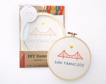 DIY Embroidery Kit - Golden Gate Bridge - Embroidery Hoop Art - Beginner Embroidery -  Craft Kit - San Francisco - Modern Embroidery Kit