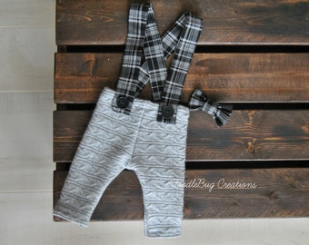 Newborn Photography Overalls - Upcycled Gray Cashmere Pants with Black & Gray Plaid Suspenders And Bow Tie - Ready To Ship