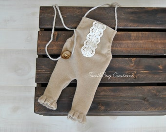 Newborn Romper Set- Tan Cashmere Romper With Lace accents & Tieback - Ready To Ship