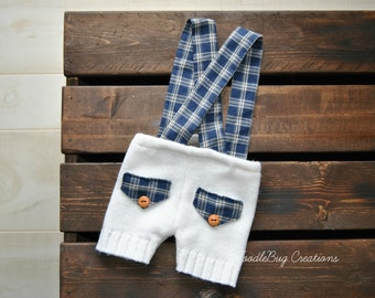 Newborn Photography Overalls - Upcycled Cream Shorts with Navy Blue & White Plaid Suspenders- Ready To Ship