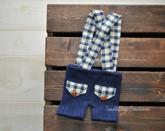 Newborn Photography Overalls - Upcycled Blue Shorts with Blue &  White Plaid Suspenders - Ready To Ship