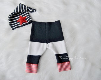 Newborn Photography Set - Upcycled 4th Of July Set- Navy White & Red Pants With Navy And White Striped Knot Hat With Red Star- Ready To Ship