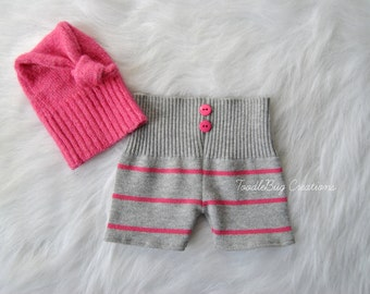 Newborn Photography Set - Upcycled Gray And Pink Striped Shorts With Beautiful Pink Knot Hat- Ready to Ship