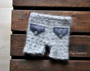 Newborn Photography Shorts- Upcycled Angora Lose Knit Soft Gray Shorts - Ready to Ship